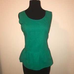 Loft Ann Taylor Kelly Green Peplum Zippered blouse
